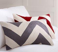 Chevron Crewel Embroidered Lumbar Pillow Cover #potterybarn
