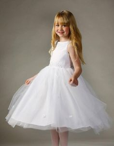 dff12d6347a Flower Girl Dress Tulle and Satin Dress with Floral Accents White Party  Dress Special Occasion Dress