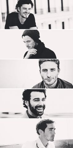 Gorgeous guys from the Hobbit! top to bottom: Orlando Bloom/Legolas Luke Evans/Bard Dean O' Gorman/Fili Aiden Turner/Kili aand Lee Pace/Thrauduil :) Tolkien, Dean O'gorman, Luke Evans Bard, Orlando Bloom Legolas, Beautiful Men, Beautiful People, Aiden Turner, O Hobbit, Le Male