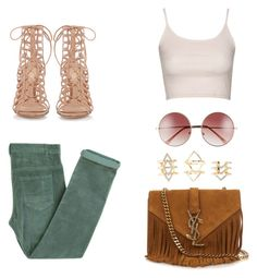 """""""Untitled #20"""" by deborasilva02 ❤ liked on Polyvore featuring Laurence Doligé, Topshop, A.J. Morgan, Gianvito Rossi, Yves Saint Laurent and Charlotte Russe"""