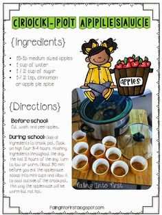 Applesauce Recipe for the classroom.