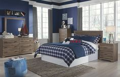 plank style panel headboard for full bed with matching bedroom furniture