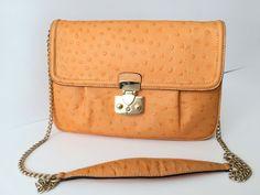 SALE ! Apricot orange leather clutch, soft cowhide leather with ostrich print, trendy spring color, evening bag, shoulder bag