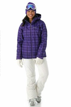 Raquel in violet plaid pattern ski jacket.