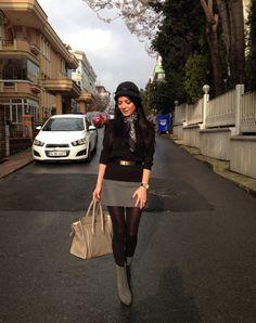 Grey mini skirt grey boots celine bag