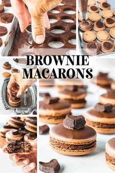 These brownie macarons feature a brownie filling, with rich chocolate frosting. The top shell is dipped in chocolate, and then topped with a brownie heart. Macaroons, Macaroon Cookies, Shortbread Cookies, Macaron Flavors, Macaron Recipe, Baking Recipes, Cookie Recipes, Dessert Recipes, Amish Recipes