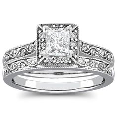 3/4 Carat Diamond Halo Bridal Ring Set in 14k Gold -- Jewelry Exchange in Villa Park