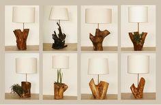 O manuseio é totalmente artesanal, o que faz cada peça ser única. -http://livrevida.com.br/design-de-produto/base-de-mesa-luminaria-tronco-arvore/