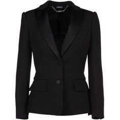 Alexander Mcqueen Tuxedo Jacket ($1,970) ❤ liked on Polyvore featuring outerwear, jackets, blazers, black, dinner jacket, tux blazer, alexander mcqueen jacket, tuxedo jacket and tuxedo blazer