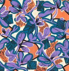 FLORAL GEOMETRY An exclusive reproduction of a Parisian textile design from Atelier Zina de Plagny, 1940s-1950s.