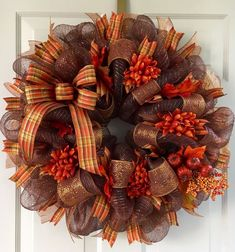 Chocolate Brown and Copper Metallic Fall Deco Mesh Wreath with Bow | eBay