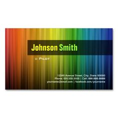 Pilot - Stylish Rainbow Colors Business Cards. I love this design! It is available for customization or ready to buy as is. All you need is to add your business info to this template then place the order. It will ship within 24 hours. Just click the image to make your own!