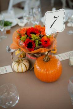 orange table decor rustic fall loudon county virginia wedding Kelly Ewell Photography 275x412 Rustic Fall Wedding Reception in Loudoun County Virginia: Meredith + Matt