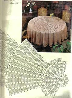 Round Pineapple Tablecloth 7592 pattern by The Spool Cotton Company Crochet Tablecloth Pattern, Crochet Doily Rug, Crochet Doily Diagram, Crochet Square Patterns, Crochet Art, Crochet Stitches Patterns, Crochet Round, Crochet Home, Thread Crochet