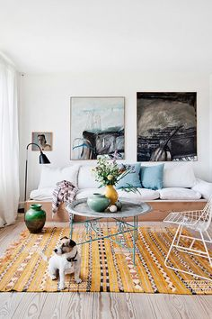 scandinavian home living room and cute dog