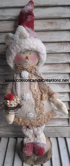 Christmas Primitive Lacy Snow Girl by CCCPrimitives on Etsy, $32.00