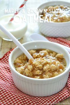 Quick and Easy Maple and Brown Sugar Oatmeal. This is awesome with some heavy whipping cream...ms
