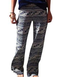Womens Tribal Boho Print Casual Wide Leg Loose Pants