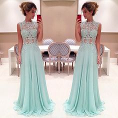 Pretty Light Blue Long Prom Dress