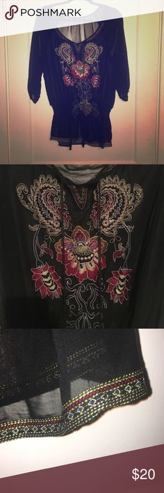 Black sheer boho tunic Never worn, black sheer polyester blouse. Boho festival style design on front and bottom lining. Elastic band around waist and arm sleeves. Black twisted cord hanging by neck. Forever 21 Tops Blouses