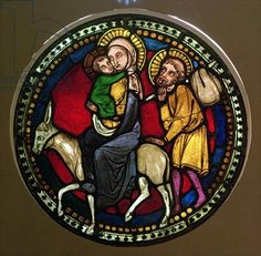 Window Depicting the Flight into Egypt, Late 13th Century (stained glass)
