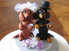Clay Dachshund Cake toppers