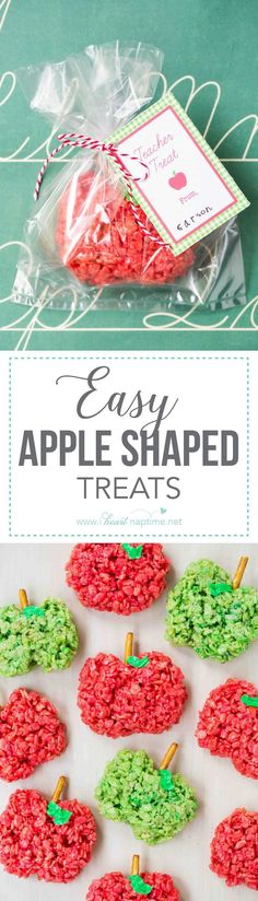 Apple shaped rice crispy treats ...the perfect back to school treat! Easy to make, and the kids love to help!