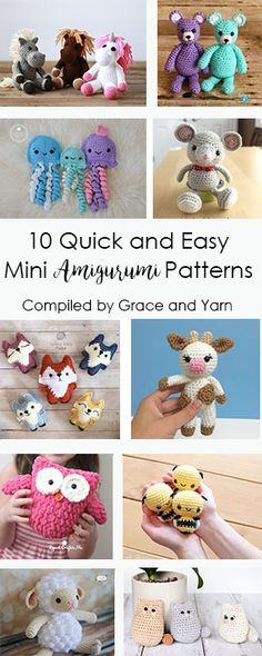 10 Quick and Easy Mini Amigurumi Patterns If you're looking for a quick and easy crochet project or gift idea here are 10 free patterns sure to bring smiles and joy! The post 10 Quick and Easy Mini Amigurumi Patterns appeared first on Crochet ideas. Crochet Gratis, Crochet Amigurumi Free Patterns, Crochet Toys, Crochet Baby, Knitting Patterns, Easy Crochet Animals, Quick Crochet Patterns, Easy Animals, Easy Knitting