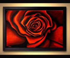 Red rose painting framed ready to hang contemporary floral abstract by Osnat #Abstract