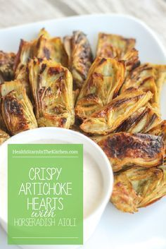 Crispy {Baked} Artichoke Hearts with Horseradish Aioli {Low-Carb Paleo Grain & Gluten-Free Real Food Dairy-Free Vegetarian} Baked Artichoke, Artichoke Recipes, Roasted Artichoke Hearts, Frozen Artichoke Hearts, Artichoke Dip, Paleo Recipes, Real Food Recipes, Cooking Recipes, Paleo Food