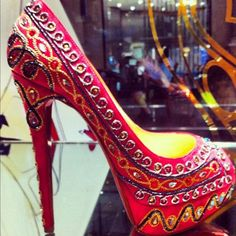 CHRISTIAN LOUBOUTIN...that is very Indian of him to do! indian bridal shoes wedding bride dulhan desi groom www.amouraffairs.in