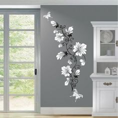 White Flowers wall decals Price 600 rupees Wall decals are a simple and excellen. Wall Painting Decor, Mural Wall Art, Wall Drawing, Diy Wall, Shop 24, Wall Design, Bedroom Decor, Interior Design, Home Decor