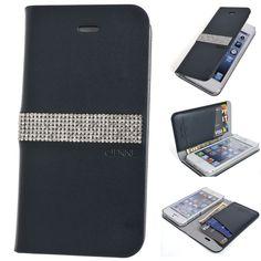 Real Genuine Leather Case HANDMADE Swarovski Cubic Flip Cover Wallet iPhone 6 #LuxuryTwinkle