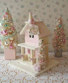 Sweet Christmas Cottage and Bottled Tree Vignette