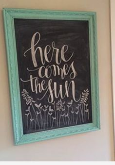 spring chalkboard art Here comes the sun chalkboard art Chalkboard Doodles, Chalkboard Art Quotes, Blackboard Art, Chalkboard Writing, Kitchen Chalkboard, Chalkboard Drawings, Chalkboard Lettering, Chalkboard Designs, Chalkboard Paint