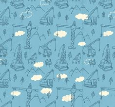 the endpapers for What Can A Crane Pick Up? from Knopf.