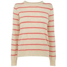 Oasis Striped Zip Top, Mid Neutral (£15) ❤ liked on Polyvore featuring tops, sweaters, mid neutral, crew neck tops, striped top, pink top, stripe top and crew top