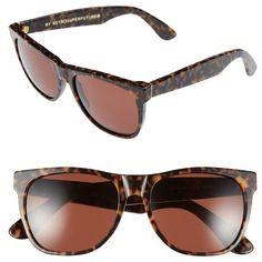 SUPER by RETROSUPERFUTURE 'Basic' 54mm Sunglasses ($209) ❤ liked on Polyvore featuring accessories, eyewear, sunglasses, havana materica, uv protection sunglasses, tortoise shell glasses, retro style sunglasses, tortoise shell sunglasses and tortoiseshell sunglasses