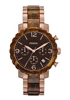 $159.95 Fossil Natalie Faux Burlwood Ladies Watch - JR1385  This beautiful Round Faux Burlwood case has a 39mm case diameter. The case back is Solid and bezel material is Fixed faux Burlwood Acetate. This timepiece also has Quartz movement.  The bracelet of this Fossil Natalie is made of Rose Gold and Faux Burlwood Stainless Steel.     Do you like Rose Gold? Do you like Wood? What are your thoughts on these two trends?