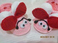 Купить Пинетки Божьи коровки. - бледно-розовый, пинетки для новорожденных, подарок для девочки, пинетки детские