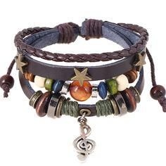 Alloy Note Star Beaded Leather Bracelet