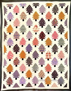 Pieced Quilt Pine Trees 1930 by SurrendrDorothy, via Flickr