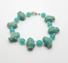 Bracelet, Fish Bracelet Beaded with Aqua and Yellow Ceramic Fish and Aqua Polished Stone Round Beads