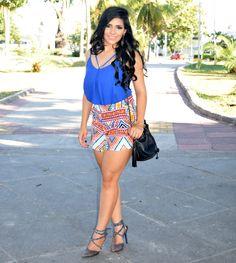 Diário da Moda: Look do dia: Short-saia com estampa geometrica