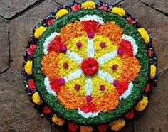 Flower Rangoli, Thread Bangles, Tree Skirts, Christmas Tree, Stone, Holiday Decor, Outdoor Decor, Flowers, Home Decor