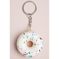 Sprinkle Donut Keychain ($3) ❤ liked on Polyvore featuring accessories, key chain rings, ring key chain, keychain key ring, silver key chain and fob key chain