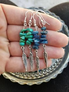 Beautiful, yet simple and delicate, these gorgeous lightweight gemstone chip earrings are sure to grab attention and compliments! A dainty silver plated feather hangs from the bottom. Please choose which pair you would like from the drop down menu. Wire Jewelry, Jewelry Crafts, Beaded Jewelry, Jewelery, Amethyst Earrings, Turquoise Earrings, Turquoise Beads, Silver Earrings, Homemade Jewelry
