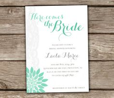 Mint Bridal Shower Invitation  DIY Printable Lace by chitrap