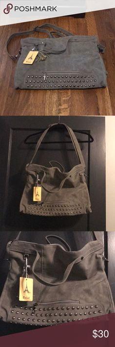 Grey Tote BRAND NEW! Grey suede bag with detachable cross body strap. Gunmetal hardware.   16x12x4.5 Bolish Bags