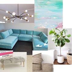 """Happy #moodboardmonday  I don't know about you, but I can't shake the Oscar mood. What a crazy situation. A moodboard was my cure.   Tap for sources. Call me at @the_cococo if you need this amazing sofa sectional (this one's in @jbmartinco Porto whirlpool) ... Also, DM me if you love that abstract art. It's a creation of my twin sister @pamstasneystyle ... mixed media with gold leaf + water-based paint, """"Reflections""""✨the Sputnik Chandi is from @etsy Nino Shea Design. And the fiddle leaf fig…"""
